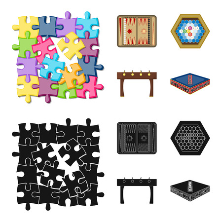 Board game cartoon,black icons in set collection for design. Game and entertainment vector symbol stock web illustration. Çizim