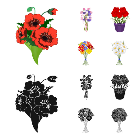 A bouquet of fresh flowers cartoon,black icons in set collection for design. Various bouquets vector symbol stock web illustration. Illustration