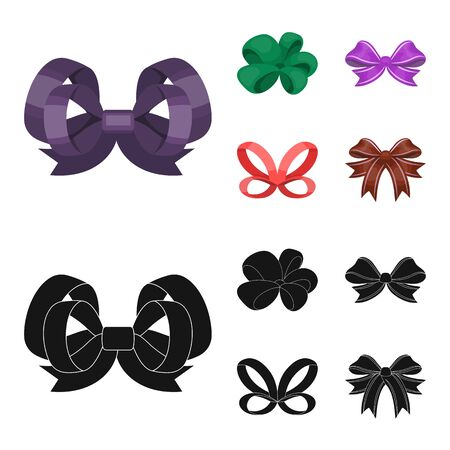 Ornamentals, frippery, finery and other web icon in cartoon,black style.Bow, ribbon, decoration, icons in set collection. Stock Illustratie