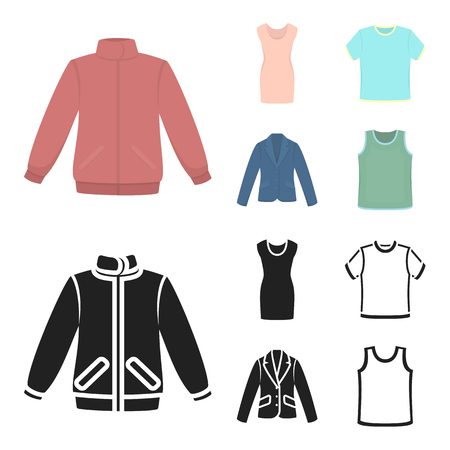A mans jacket, a tunic, a T-shirt, a business suit. Clothes set collection icons in cartoon,black style vector symbol stock illustration web.