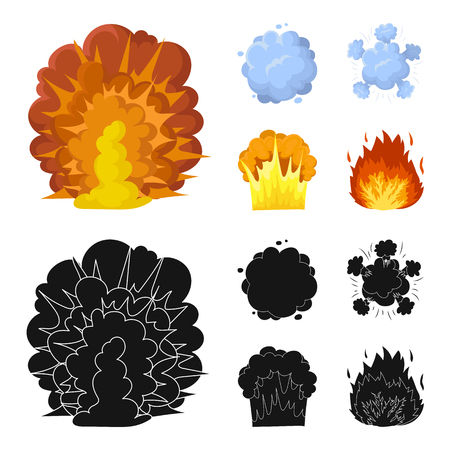 Flame, sparks, hydrogen fragments, atomic or gas explosion. Explosions set collection icons in cartoon,black style vector symbol stock illustration web. Ilustração