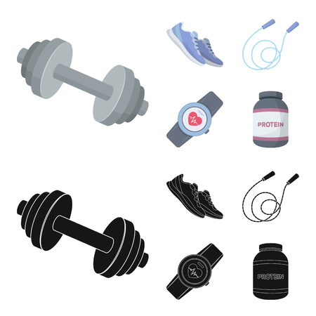 Dumbbell, rope and other equipment for training.Gym and workout set collection icons in cartoon,black style vector symbol stock illustration web. Illustration