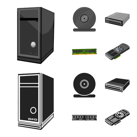 System unit, memory card and other equipment. Personal computer set collection icons in cartoon, black style vector symbol stock illustration web.