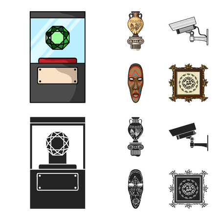 A diamond, a vase on a stand, a surveillance camera, an African mask. Museum set collection icons in cartoon, black style vector symbol stock illustration web. Ilustração