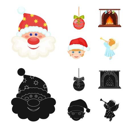 Santa Claus, dwarf, fireplace and decoration cartoon, black icons in set collection for design. Christmas vector symbol stock web illustration.