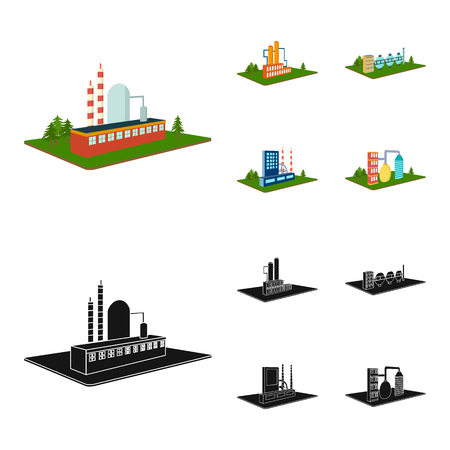 Processing factory, metallurgical plant. Factory and industry set collection icons in cartoon, black style isometric vector symbol stock illustration web.