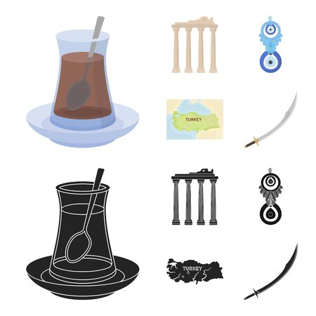 Turkish tea, amulet, ruins of antiquity, map of the territory. Turkey set collection icons in cartoon, black style vector symbol stock illustration web. Illustration