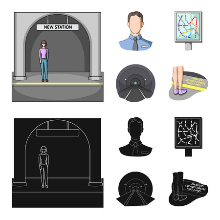 Set of public transport concept icons in cartoon,black style illustration.