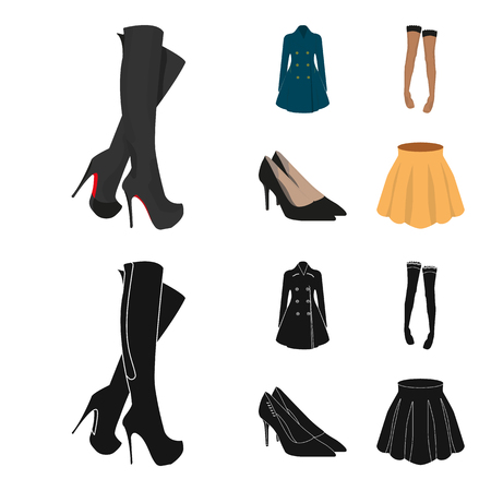 Womens clothing set collection icons in cartoon, black style vector symbol stock illustration web.