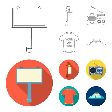 A lamppost with a sign, a T-shirt with an inscription, a radio, a car roof. Advertising, set collection icons in outline, flat style vector symbol stock illustration web.