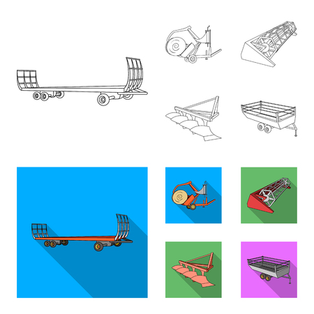 Plow, combine thresher, trailer and other agricultural devices. Agricultural machinery set collection icons in outline, flat style vector symbol stock illustration web.