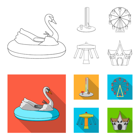 The device with a bat for measuring strength, a ferris wheel, a carousel, a house with windows. Amusement park set collection icons in outline, flat style vector symbol stock illustration web.