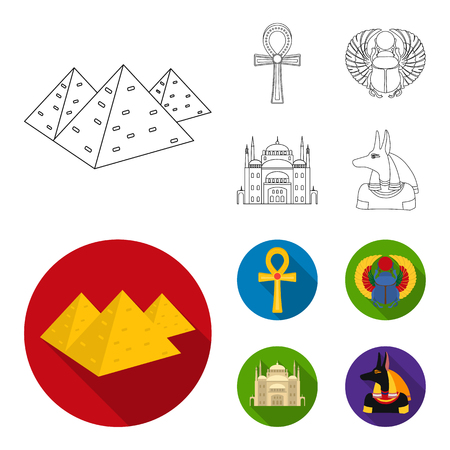 Set of ancient Egypt icons in cartoon style illustration. Illustration