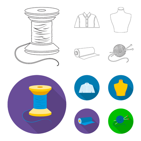 Set of tailoring concept  icons in cartoon flat style illustration.