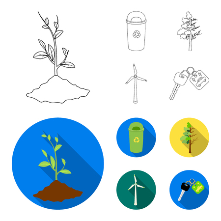 A garbage can, a diseased tree, a wind turbine, a key to a bio car.Bio and ecology set collection icons in outline,flat style vector symbol stock illustration . Illustration