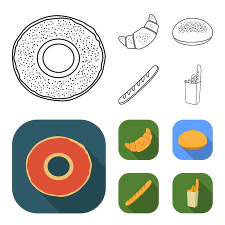 Rye round bread, a croissant, a French loaf, a bag of bread.Bread set collection icons in outline,flat style vector symbol stock illustration .