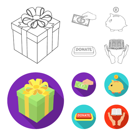 Hand with money, a piggy bank for charity, a button with an inscription, a book for the blind in their hands. Charity and donation set collection icons in outline, flat style vector symbol stock illustration web.