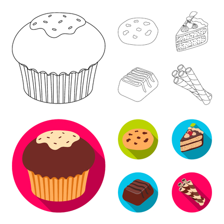 American cookies, a piece of cake, candy, wafer tubule. Chocolate desserts set collection icons in outline, flat style vector symbol stock illustration web. Illustration