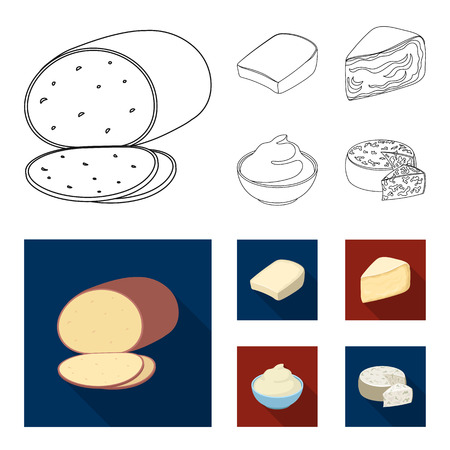 Gruyere, camembert, mascarpone, gorgonzola.Different types of cheese set collection icons in outline,flat style vector symbol stock illustration . Illusztráció