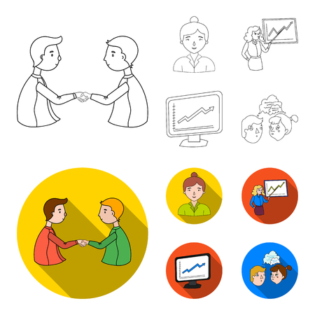 Businesswoman, growth charts, brainstorming.Business-conference and negotiations set collection icons in outline,flat style vector symbol stock illustration .