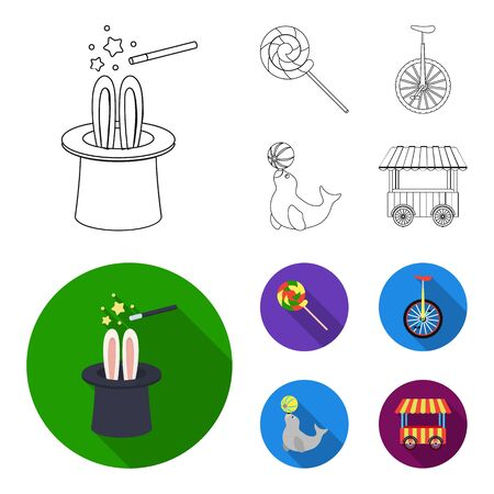 Lollipop, trained seal, snack on wheels, monocycle.Circus set collection icons in outline,flat style vector symbol stock illustration .