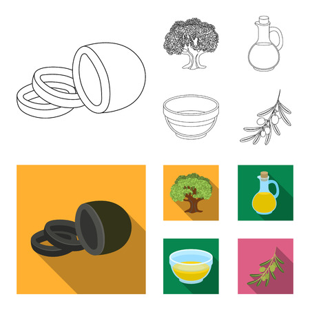 Olives set collection icons in outline, flat style vector symbol stock illustration.