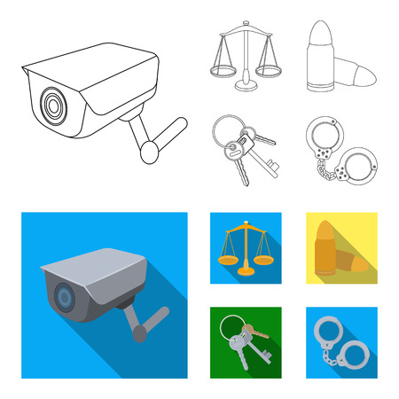 Prison set collection icons in outline ,flat style illustration. Illustration