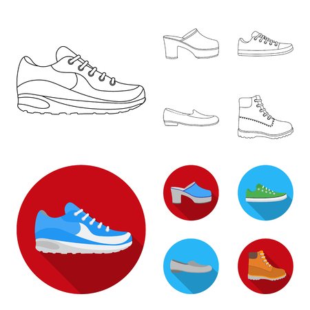 Shoes set collection icons in outline, flat style  illustration.