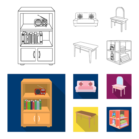 Soft sofa, toilet make-up table, dining table, shelving for laundry and detergent. Furniture and interior set collection icons in outline, flat style isometric vector symbol stock illustration