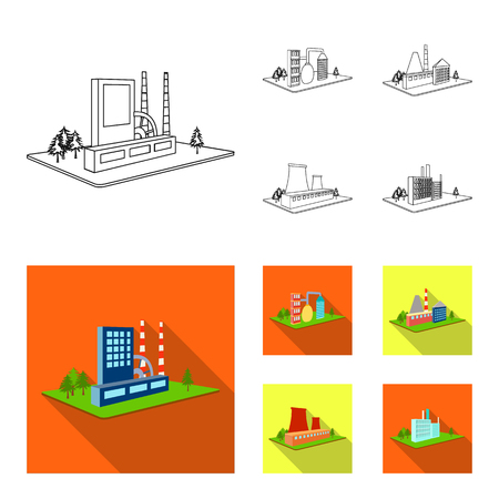 Processing factory, metallurgical plant. Factory and industry set collection icons in outline, flat style isometric vector symbol stock illustration