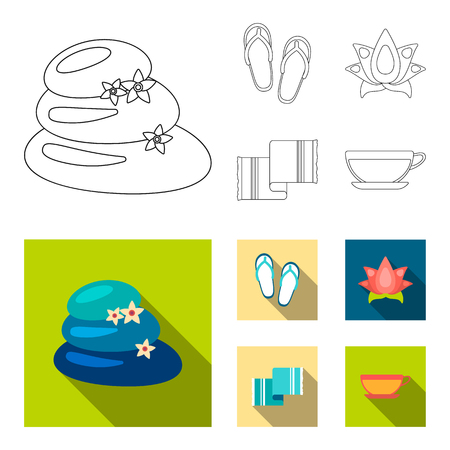 Flip-flops for the pool, lotus flower with petals, yellow towel with fringe, cup with tea, drink. Spa set collection icons in outline, flat style vector symbol stock illustration