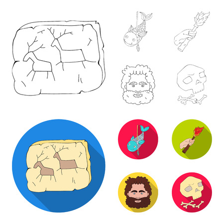 Stone age set collection icons in outline, flat style vector symbol stock illustration Illustration