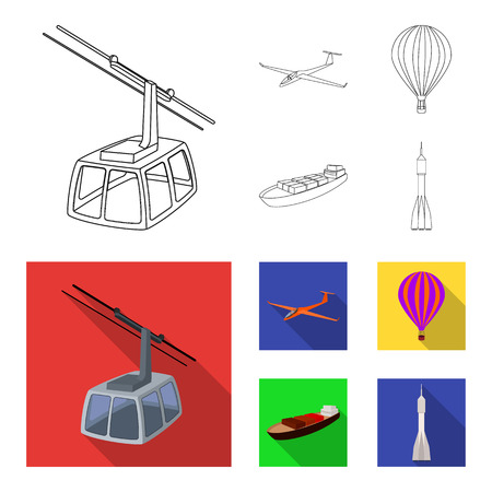 Un drone, un planeur, un ballon, une barge de transport, une fusée spatiale modes de transport. Icônes de collection de jeu de transport en contour, illustration stock de symbole de vecteur de style plat Banque d'images - 97435825