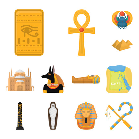 Ancient Egypt cartoon icons in set collection for design. The reign of Pharaoh vector symbol stock  illustration.