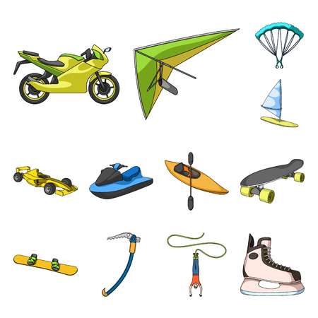 Extreme sport set collection icons in outline ,flat style illustration.