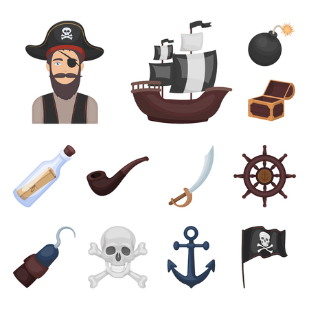 Pirate, sea robber cartoon icons in set collection for design. Treasures, attributes vector symbol stock illustration. Banque d'images - 97430083