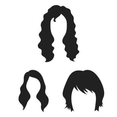Illustration of hairstyles in form of black icons Çizim