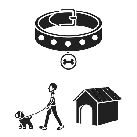 Icons of a dog house, collar and a man walking a dog Vettoriali