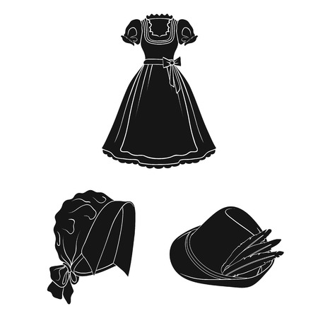 Set of black icons in set collection of a dress and hats Illustration