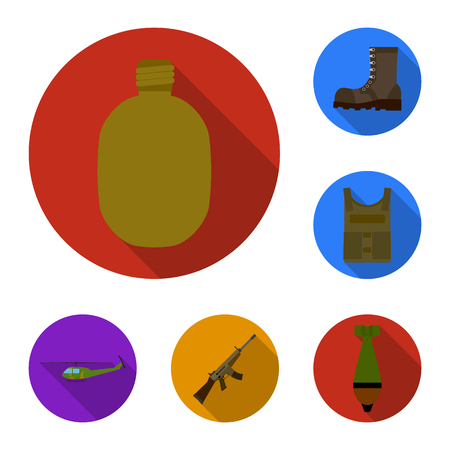 Set of army ewuipment icons with weapons, helicopter, vest and boot Illustration