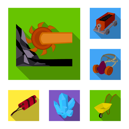 Mining industry flat icons in set collection for design. Equipment and tools vector symbol stock web illustration. Vectores