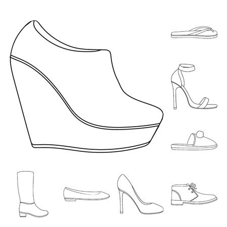 A variety of shoes outline icons in set collection for design. Boot, sneakers vector symbol stock  illustration. 向量圖像