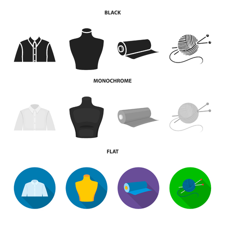 A man shirt, a mannequin, a roll of fabric, a ball of threads and knitting needles.Atelier set collection icons in black, flat, monochrome style vector symbol stock illustration .