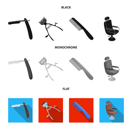 A razor, a mechanical hair clipper, an armchair and other equipment for a hairdresser.Barbershop set collection icons in black, flat, monochrome style vector symbol stock illustration .