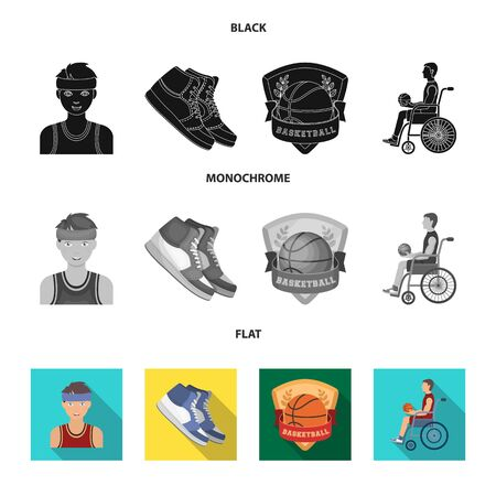 Basketball and attributes black, flat, monochrome icons in set collection for design.Basketball player and equipment vector symbol stock  illustration. Çizim