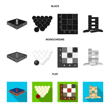 Board game black, flat, monochrome icons in set collection for design. Game and entertainment vector symbol stock web illustration. Çizim