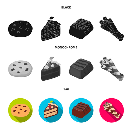 American cookies, a piece of cake, candy, wafer tubule. Chocolate desserts set collection icons in black, flat, monochrome style vector symbol stock illustration .