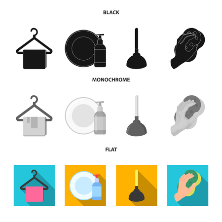 Cleaning equipment in black, flat and monochrome icons design