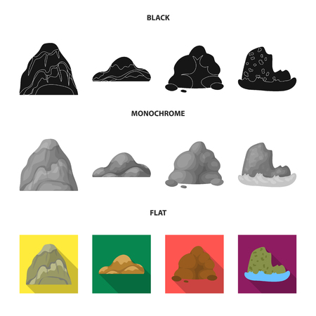 Boulders, a rounded mountain, rocks in the sea. Different mountains set collection icons in black, flat, monochrome style vector symbol stock illustration .