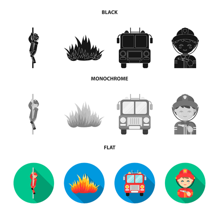 Fireman, flame, fire truck. Fire department set collection icons in black, flat, monochrome style vector symbol stock illustration .